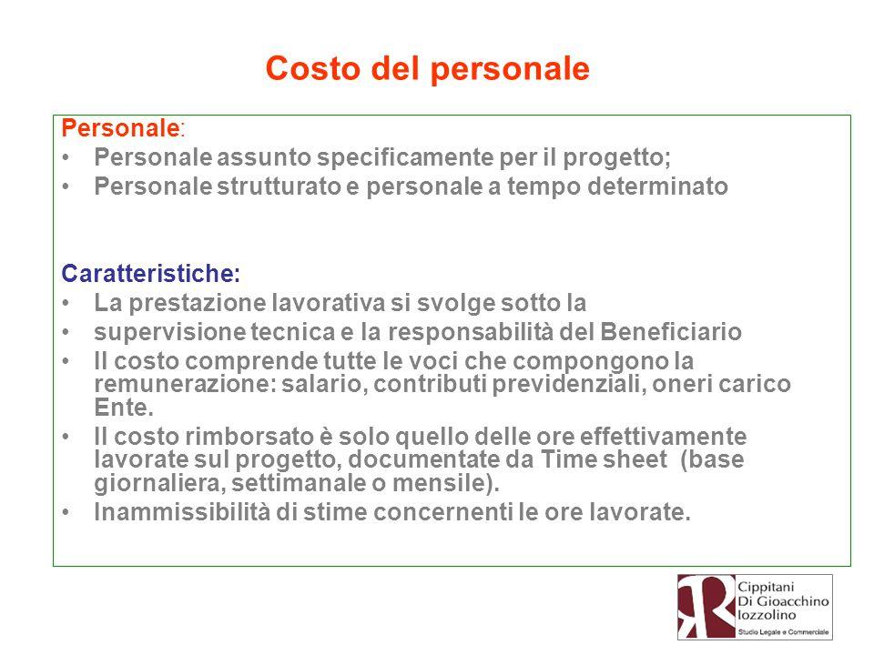 Personale: Personale assunto specificamente per il progetto; Personale strutturato e personale a tempo determinato Caratteristiche: La prestazione lav