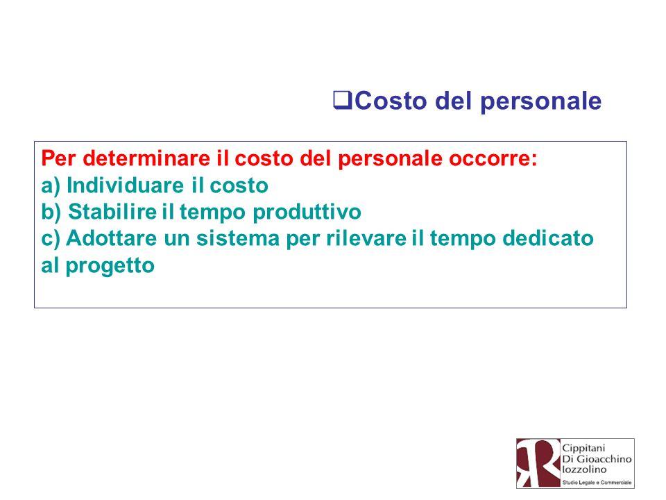 Costo del personale Per determinare il costo del personale occorre: a) Individuare il costo b) Stabilire il tempo produttivo c) Adottare un sistema pe
