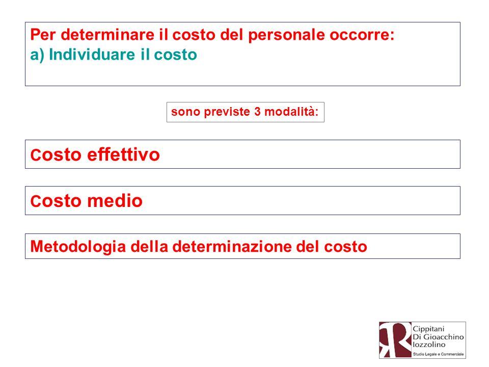 Per determinare il costo del personale occorre: a) Individuare il costo C osto effettivo sono previste 3 modalità: C osto medio Metodologia della dete