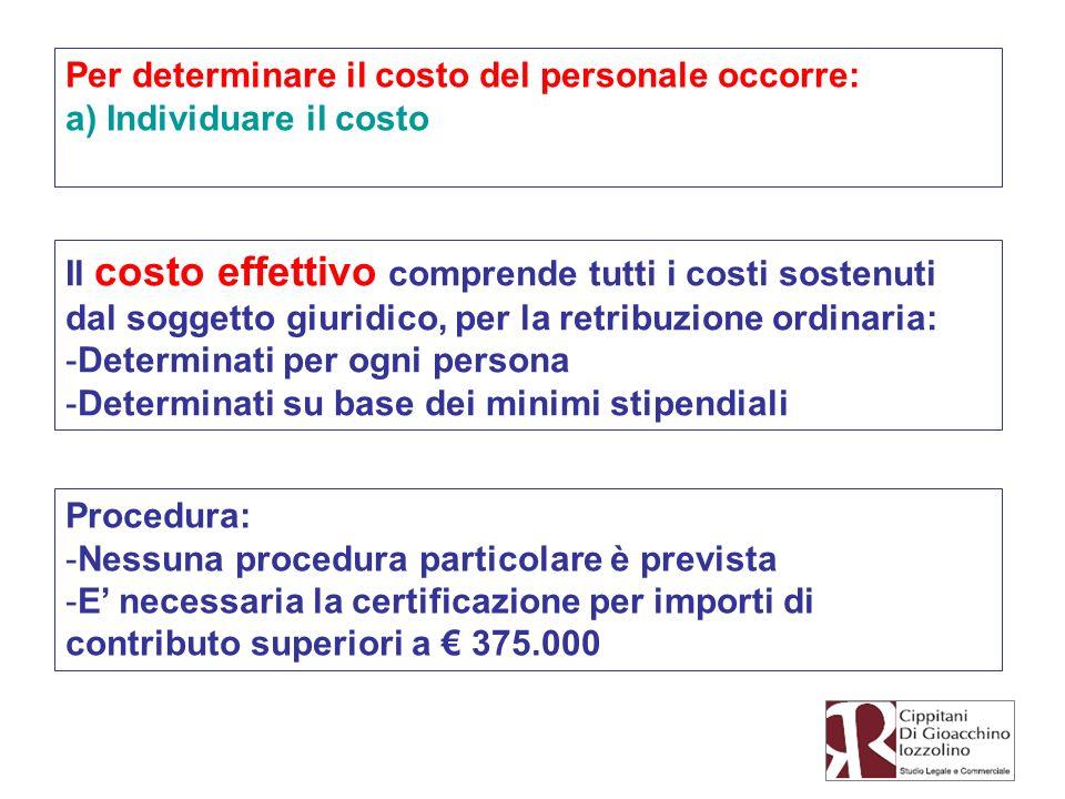 Per determinare il costo del personale occorre: a) Individuare il costo Il costo effettivo comprende tutti i costi sostenuti dal soggetto giuridico, p