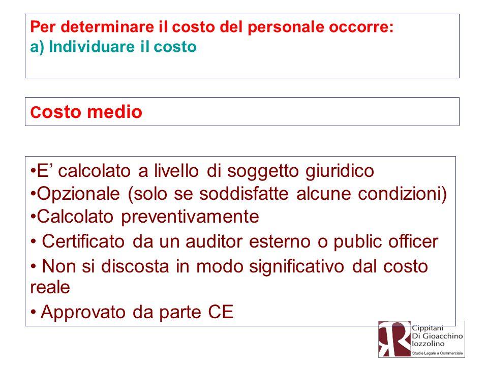 Per determinare il costo del personale occorre: a) Individuare il costo C osto medio E calcolato a livello di soggetto giuridico Opzionale (solo se so