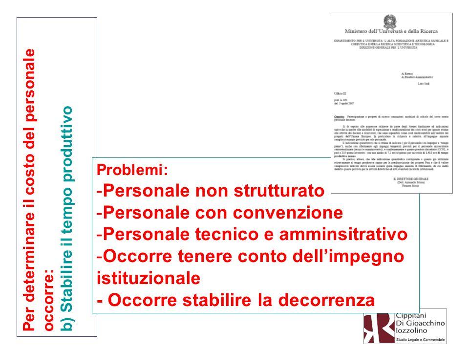 Per determinare il costo del personale occorre: b) Stabilire il tempo produttivo Problemi: -Personale non strutturato -Personale con convenzione -Pers