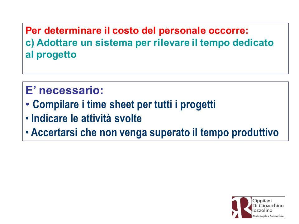 Per determinare il costo del personale occorre: c) Adottare un sistema per rilevare il tempo dedicato al progetto E necessario: Compilare i time sheet