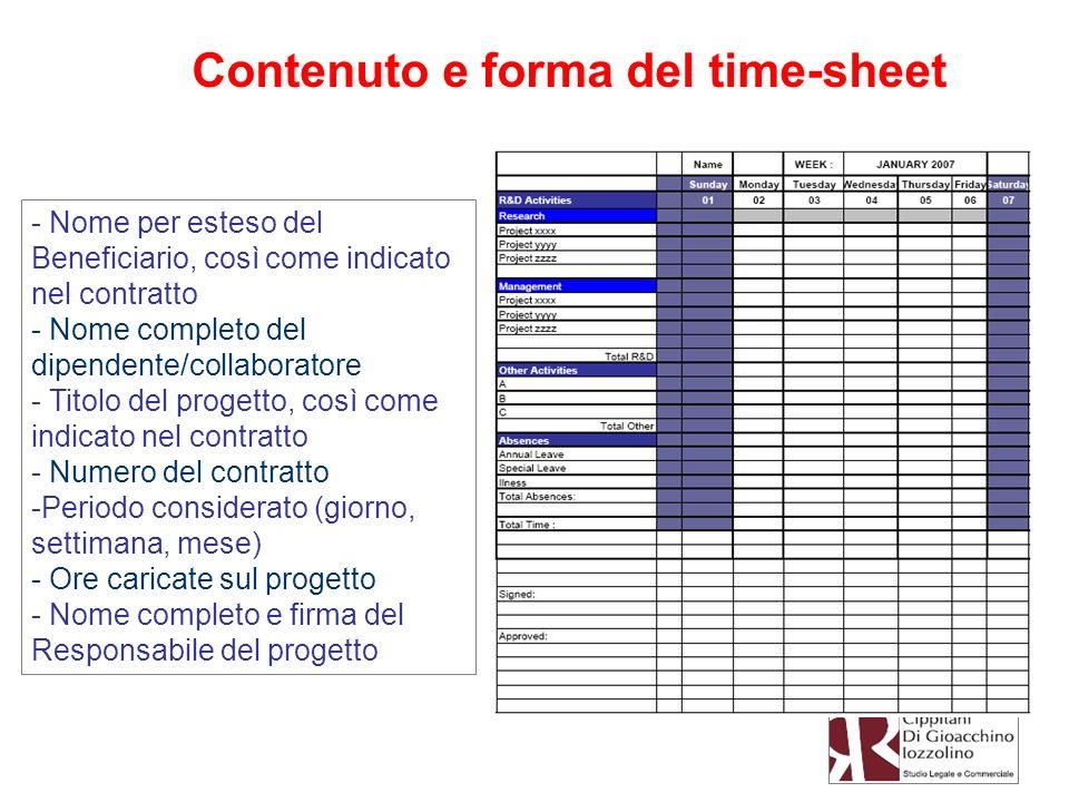 Contenuto e forma del time-sheet - Nome per esteso del Beneficiario, così come indicato nel contratto - Nome completo del dipendente/collaboratore - T