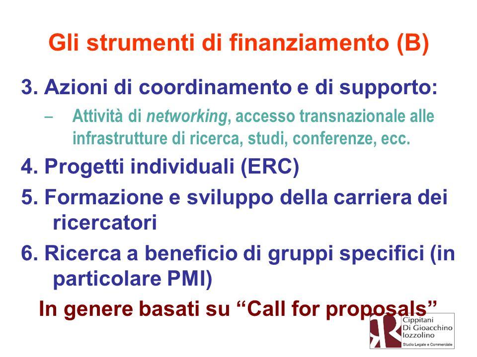 3. Azioni di coordinamento e di supporto: – Attività di networking, accesso transnazionale alle infrastrutture di ricerca, studi, conferenze, ecc. 4.