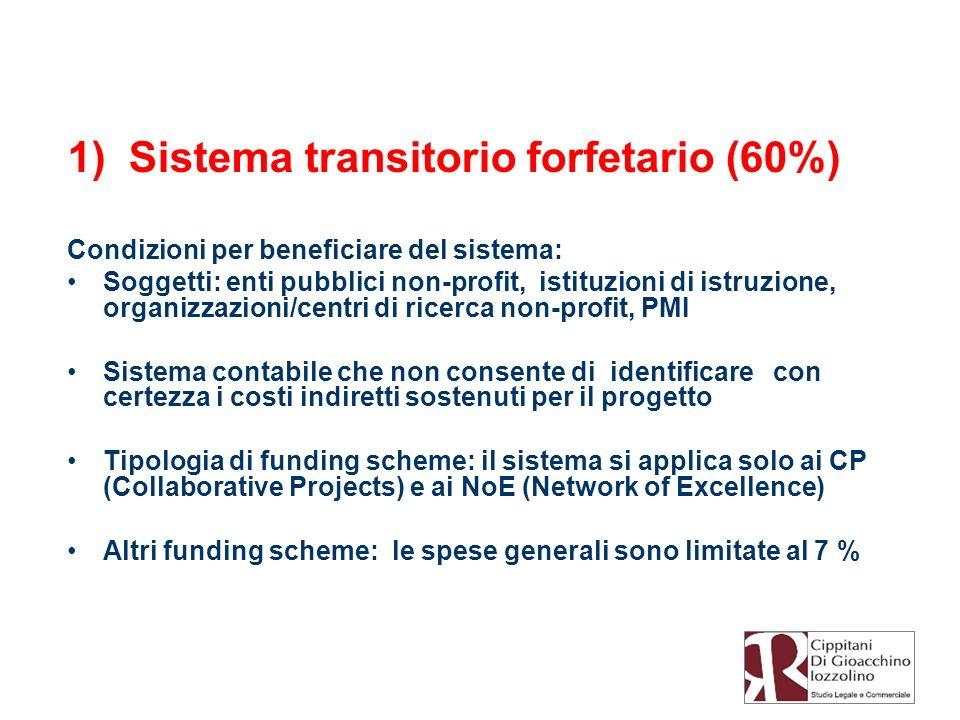 1) Sistema transitorio forfetario (60%) Condizioni per beneficiare del sistema: Soggetti: enti pubblici non-profit, istituzioni di istruzione, organiz