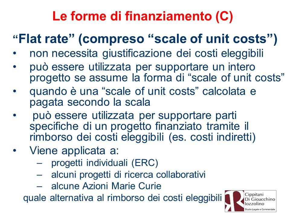 Le forme di finanziamento (C) Flat rate (compreso scale of unit costs) non necessita giustificazione dei costi eleggibili può essere utilizzata per su