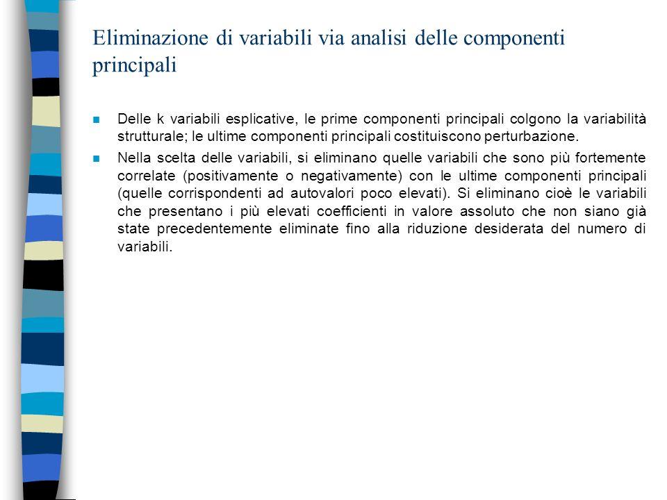 Eliminazione di variabili via analisi delle componenti principali n Delle k variabili esplicative, le prime componenti principali colgono la variabili