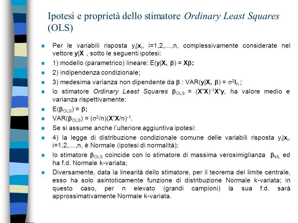 Ipotesi e proprietà dello stimatore Ordinary Least Squares (OLS) n Per le variabili risposta y i |x i, i=1,2,…,n, complessivamente considerate nel vet