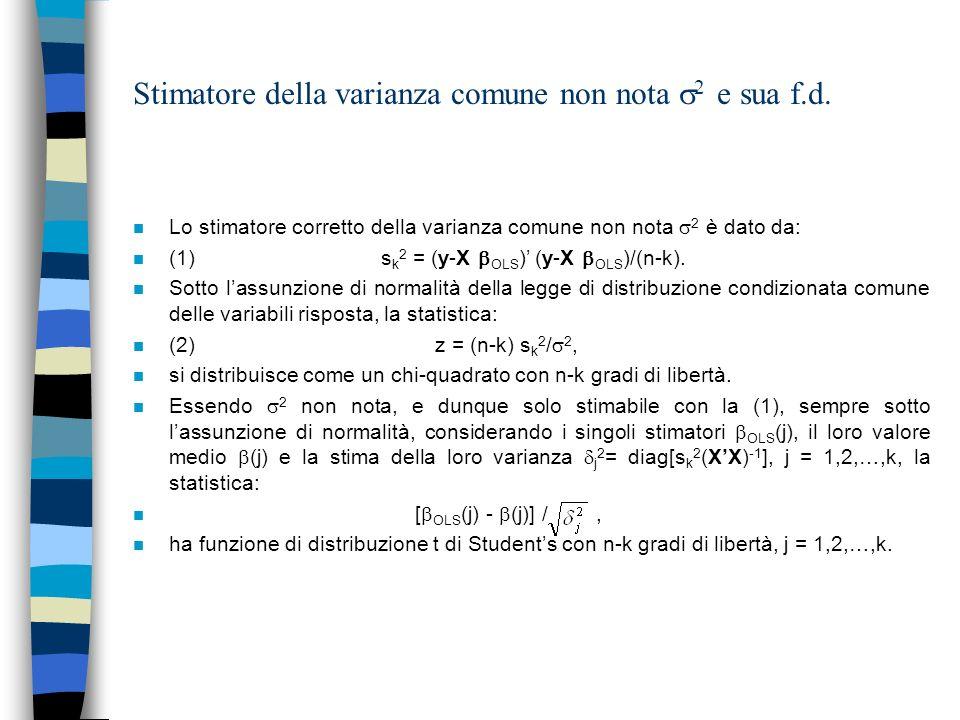 Stimatore della varianza comune non nota 2 e sua f.d. n Lo stimatore corretto della varianza comune non nota 2 è dato da: n (1) s k 2 = (y-X OLS ) (y-