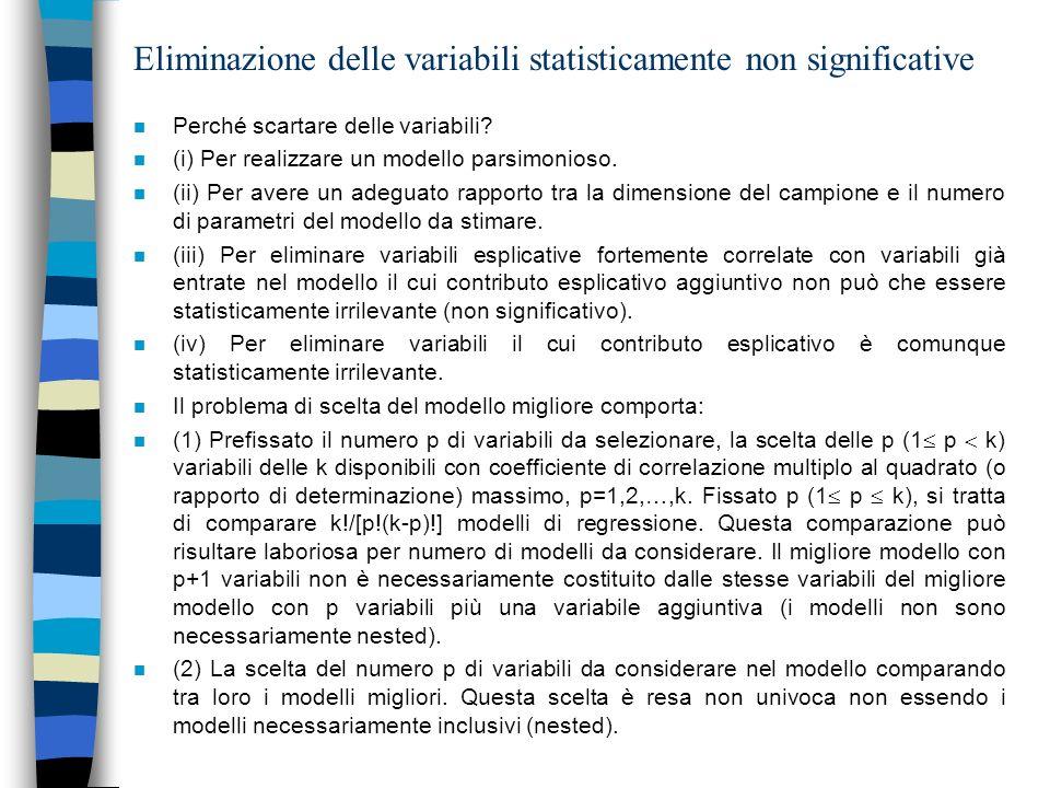 Eliminazione delle variabili statisticamente non significative n Perché scartare delle variabili? n (i) Per realizzare un modello parsimonioso. n (ii)