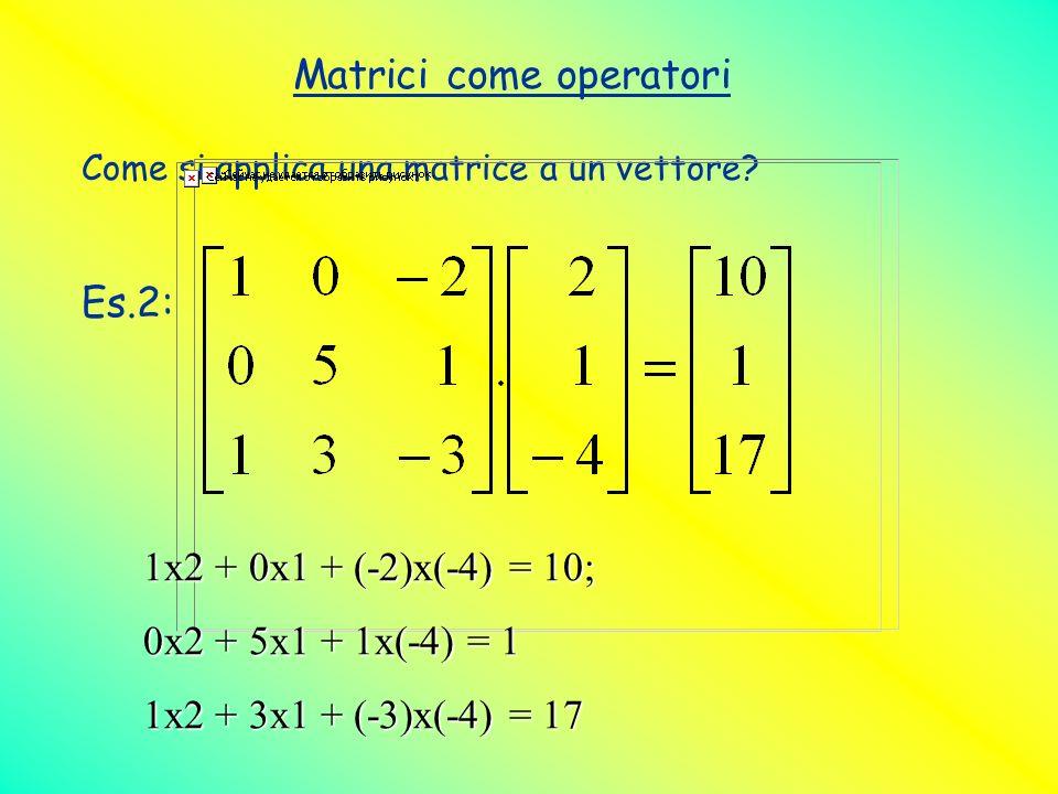 Matrici come operatori Come si applica una matrice a un vettore? Es.2: 1x2 + 0x1 + (-2)x(-4) = 10; 0x2 + 5x1 + 1x(-4) = 1 1x2 + 3x1 + (-3)x(-4) = 17