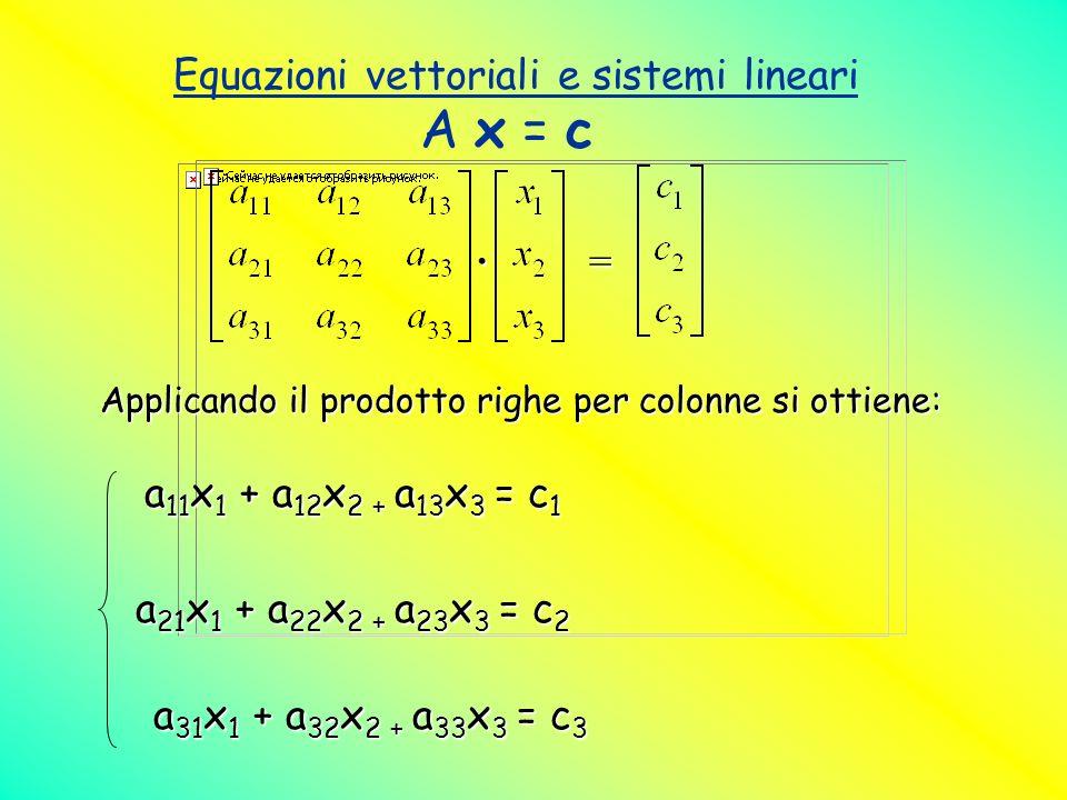 Equazioni vettoriali e sistemi lineari A x = c. = Applicando il prodotto righe per colonne si ottiene: a 11 x 1 + a 12 x 2 + a 13 x 3 = c 1 a 21 x 1 +