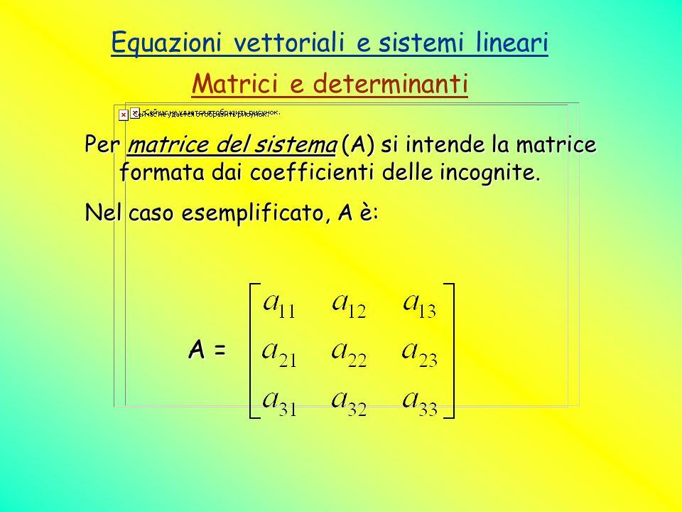 Equazioni vettoriali e sistemi lineari Matrici e determinanti Per matrice del sistema (A) si intende la matrice formata dai coefficienti delle incogni