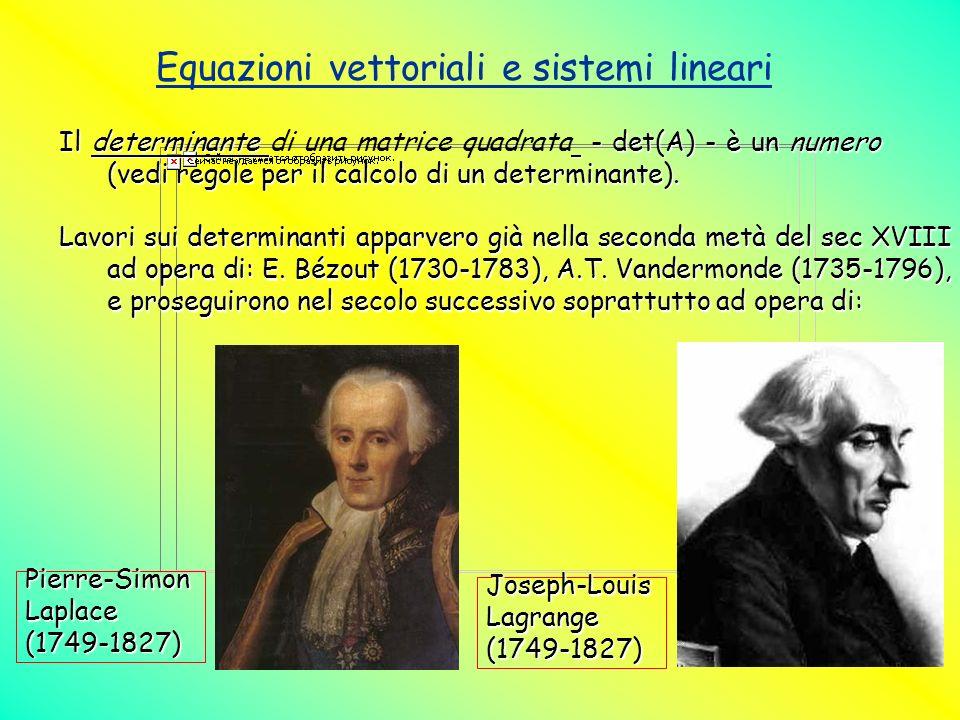Equazioni vettoriali e sistemi lineari Il determinante - det(A) - è un numero (vedi regole per il calcolo di un determinante). Il determinante di una