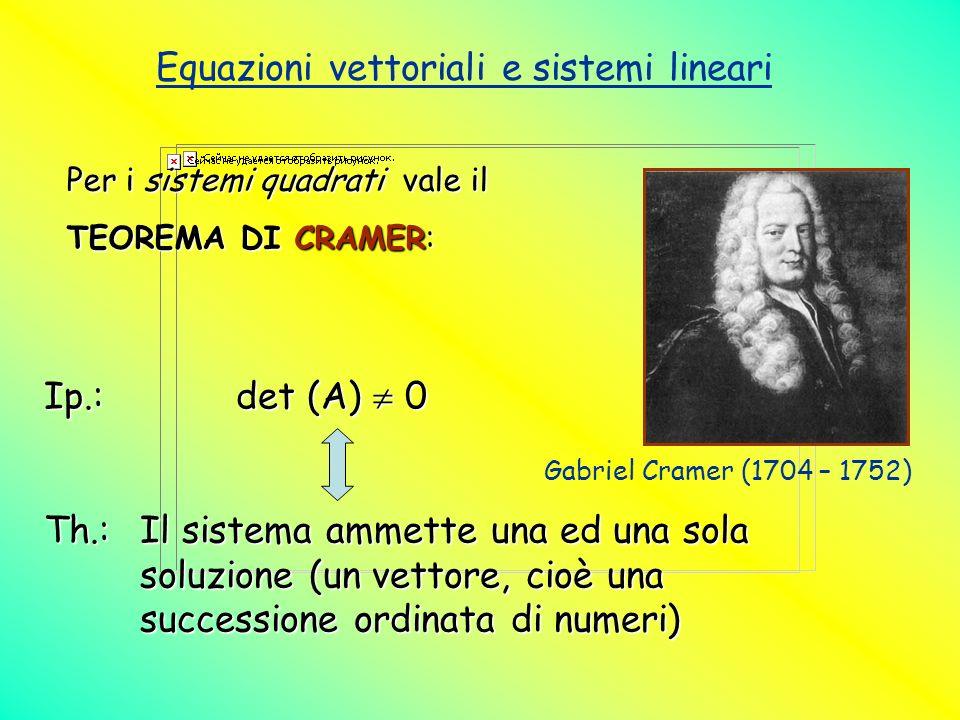Equazioni vettoriali e sistemi lineari Per i sistemi quadrati vale il TEOREMA DI CRAMER: Ip.:det (A) 0 Th.:Il sistema ammette una ed una sola soluzion