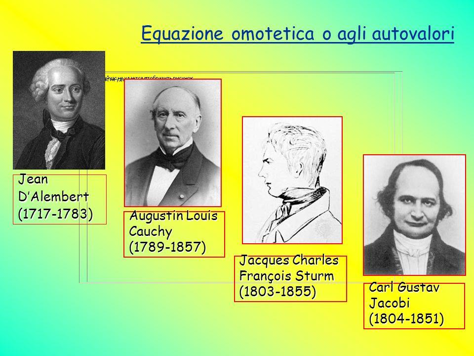 Equazione omotetica o agli autovalori JeanDAlembert(1717-1783) Augustin Louis Cauchy(1789-1857) Jacques Charles François Sturm (1803-1855) Carl Gustav