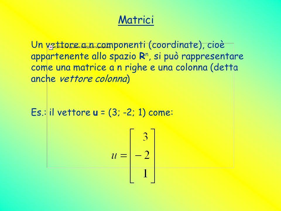Matrici Un vettore a n componenti (coordinate), cioè appartenente allo spazio R n, si può rappresentare come una matrice a n righe e una colonna (dett