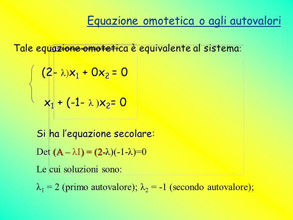Equazione omotetica o agli autovalori Tale equazione omotetica è equivalente al sistema : (2- λ x 1 + 0x 2 = (2- λ) x 1 + 0x 2 = 0 x 1 + (-1- λ ) x 2