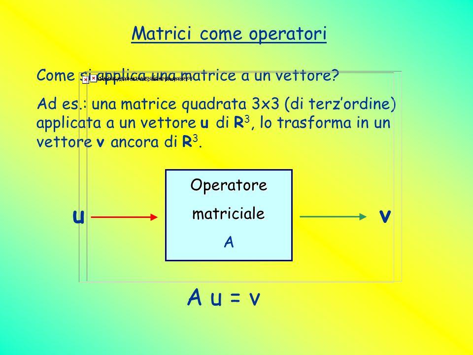 Matrici come operatori Come si applica una matrice a un vettore? Ad es.: una matrice quadrata 3x3 (di terzordine) applicata a un vettore u di R 3, lo
