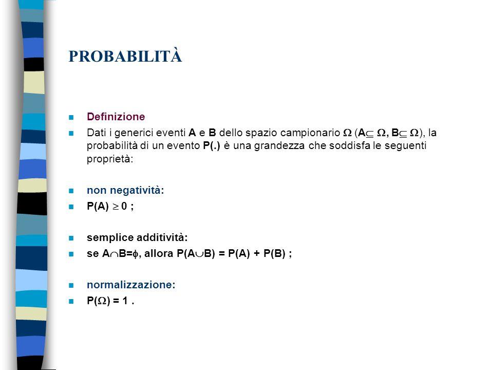 PROBABILITÀ n Definizione n Dati i generici eventi A e B dello spazio campionario (A, B ), la probabilità di un evento P(.) è una grandezza che soddisfa le seguenti proprietà: n non negatività: n P(A) 0 ; n semplice additività: n se A B=, allora P(A B) = P(A) + P(B) ; n normalizzazione: n P( ) = 1.