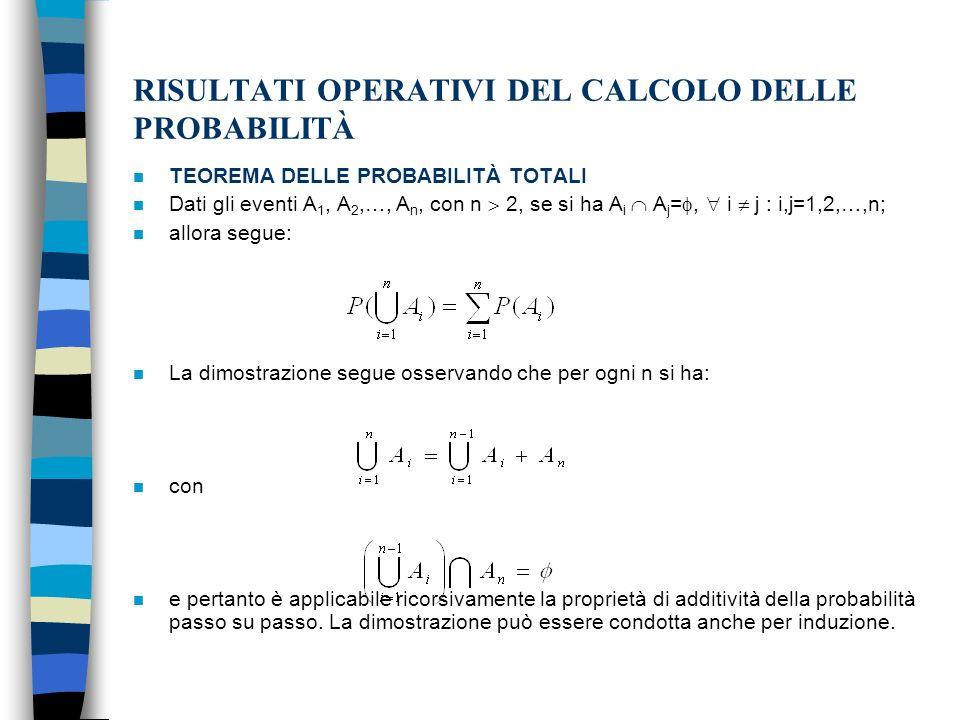 RISULTATI OPERATIVI DEL CALCOLO DELLE PROBABILITÀ n TEOREMA DELLE PROBABILITÀ TOTALI n Dati gli eventi A 1, A 2,…, A n, con n 2, se si ha A i A j =, i j : i,j=1,2,…,n; n allora segue: n La dimostrazione segue osservando che per ogni n si ha: n con n e pertanto è applicabile ricorsivamente la proprietà di additività della probabilità passo su passo.