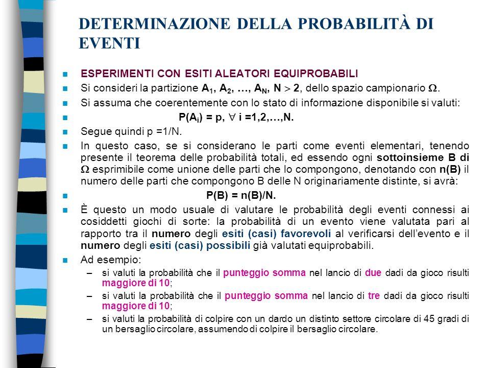 DETERMINAZIONE DELLA PROBABILITÀ DI EVENTI n ESPERIMENTI CON ESITI ALEATORI EQUIPROBABILI n Si consideri la partizione A 1, A 2, …, A N, N 2, dello spazio campionario.