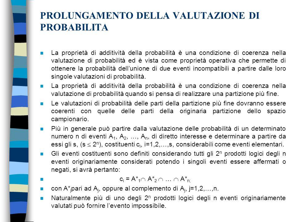 PROLUNGAMENTO DELLA VALUTAZIONE DI PROBABILITA n La proprietà di additività della probabilità è una condizione di coerenza nella valutazione di probabilità ed è vista come proprietà operativa che permette di ottenere la probabilità dellunione di due eventi incompatibili a partire dalle loro singole valutazioni di probabilità.