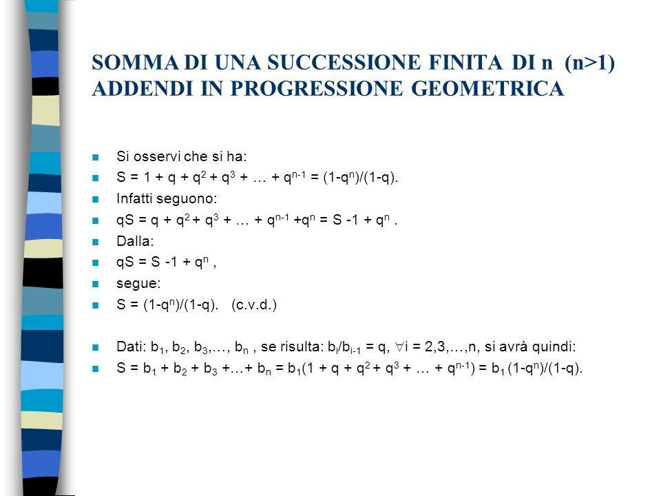SOMMA DI UNA SUCCESSIONE FINITA DI n (n>1) ADDENDI IN PROGRESSIONE GEOMETRICA n Si osservi che si ha: n S = 1 + q + q 2 + q 3 + … + q n-1 = (1-q n )/(1-q).
