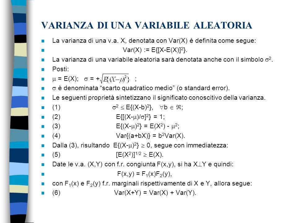 VARIANZA DI UNA VARIABILE ALEATORIA n La varianza di una v.a.