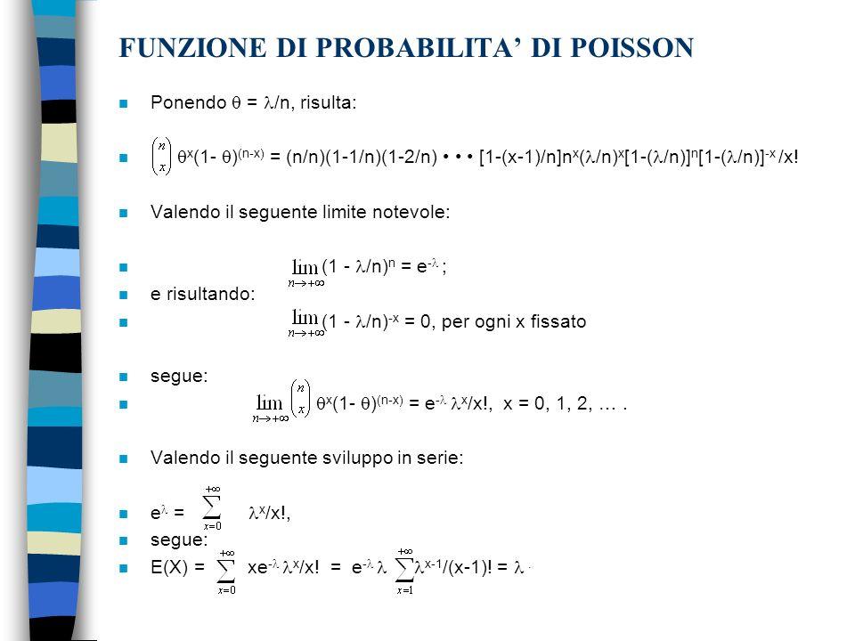 FUNZIONE DI PROBABILITA DI POISSON n Ponendo = /n, risulta: n x (1- ) (n-x) = (n/n)(1-1/n)(1-2/n) [1-(x-1)/n]n x ( /n) x [1-( /n)] n [1-( /n)] -x /x.