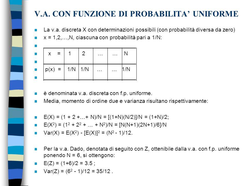 V.A.CON FUNZIONE DI PROBABILITA UNIFORME n La v.a.