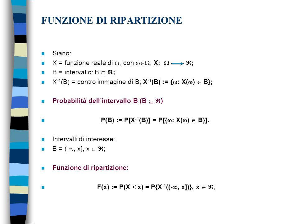 FUNZIONE DI RIPARTIZIONE n Siano: n X = funzione reale di, con ; X: ; n B = intervallo: B ; n X -1 (B) = contro immagine di B; X -1 (B) := { : X( ) B}; n Probabilità dellintervallo B (B ) n P(B) := P[X -1 (B)] = P[{ : X( ) B}].