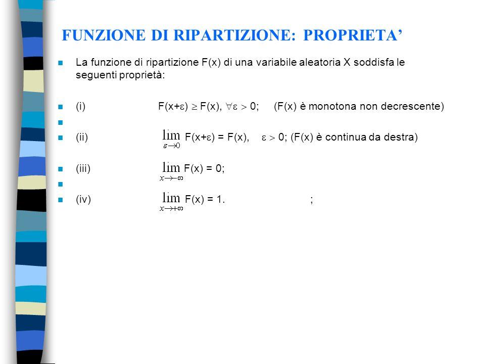 FUNZIONE DI RIPARTIZIONE: PROPRIETA n La funzione di ripartizione F(x) di una variabile aleatoria X soddisfa le seguenti proprietà: n (i) F(x+ ) F(x), 0; (F(x) è monotona non decrescente) n n (ii) F(x+ ) = F(x), 0; (F(x) è continua da destra) n (iii) F(x) = 0; n n (iv) F(x) = 1.