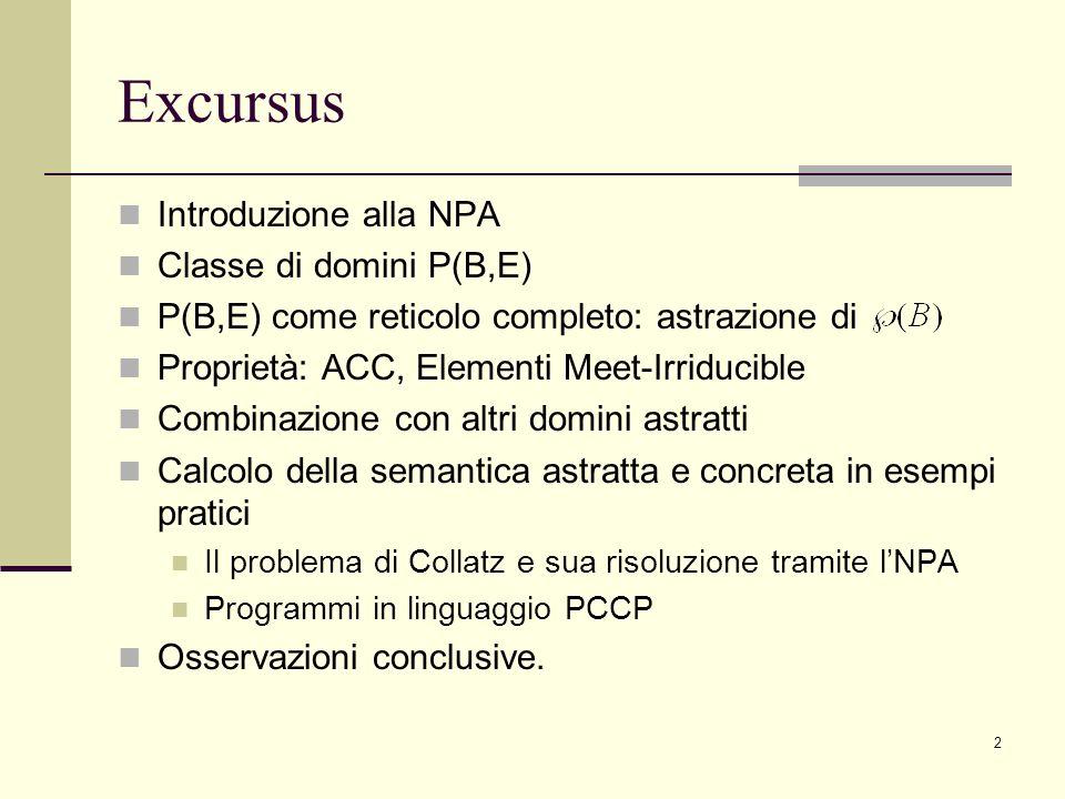 2 Excursus Introduzione alla NPA Classe di domini P(B,E) P(B,E) come reticolo completo: astrazione di Proprietà: ACC, Elementi Meet-Irriducible Combinazione con altri domini astratti Calcolo della semantica astratta e concreta in esempi pratici Il problema di Collatz e sua risoluzione tramite lNPA Programmi in linguaggio PCCP Osservazioni conclusive.