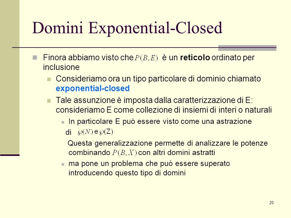 20 Domini Exponential-Closed Finora abbiamo visto che è un reticolo ordinato per inclusione Consideriamo ora un tipo particolare di dominio chiamato e