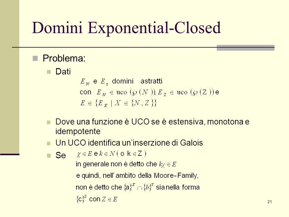 21 Domini Exponential-Closed Problema: Dati Dove una funzione è UCO se è estensiva, monotona e idempotente Un UCO identifica uninserzione di Galois Se