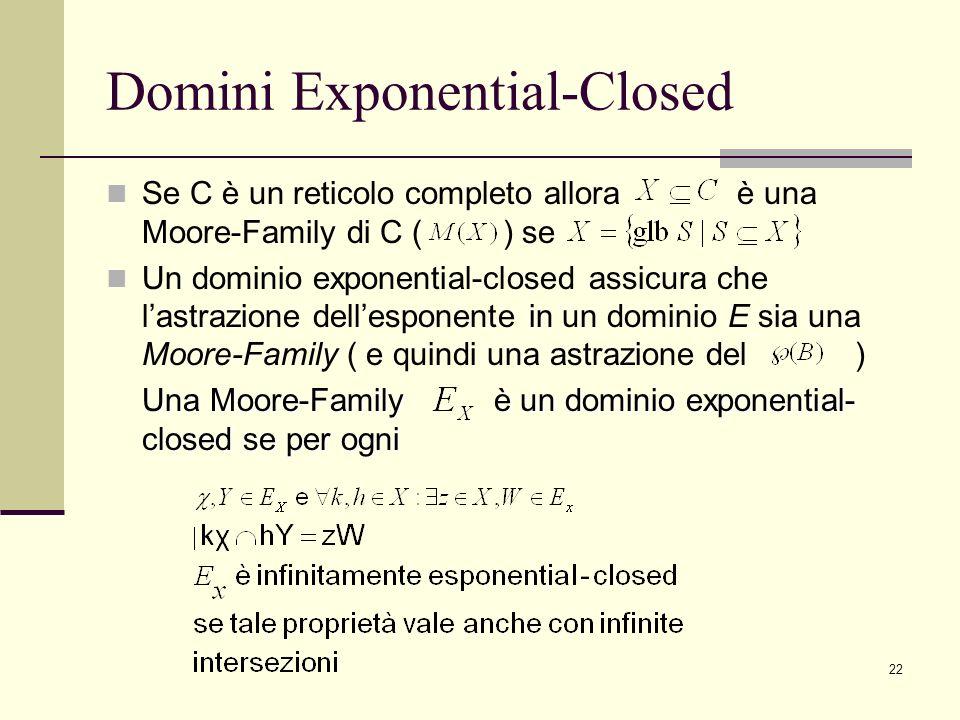 22 Domini Exponential-Closed Se C è un reticolo completo allora è una Moore-Family di C ( ) se Un dominio exponential-closed assicura che lastrazione dellesponente in un dominio E sia una Moore-Family ( e quindi una astrazione del ) Una Moore-Family è un dominio exponential- closed se per ogni