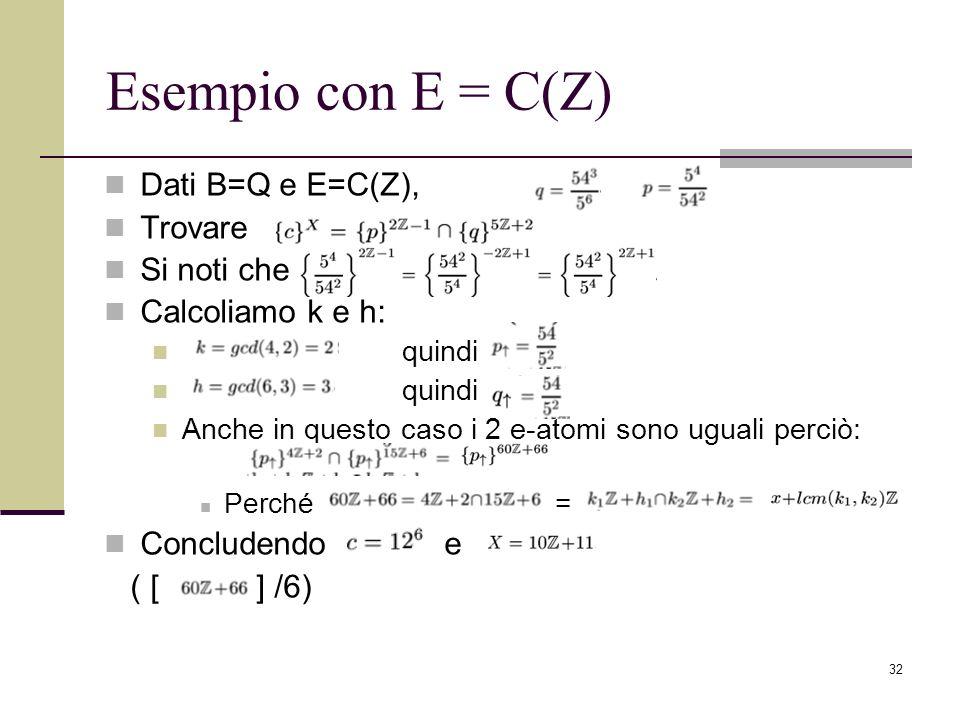 32 Esempio con E = C(Z) Dati B=Q e E=C(Z), Trovare Si noti che Calcoliamo k e h: quindi Anche in questo caso i 2 e-atomi sono uguali perciò: Perché = Concludendo e ( [ ] /6)