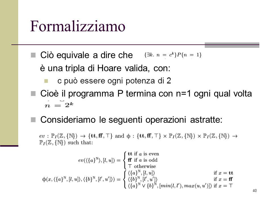40 Formalizziamo Ciò equivale a dire che è una tripla di Hoare valida, con: c può essere ogni potenza di 2 Cioè il programma P termina con n=1 ogni qu