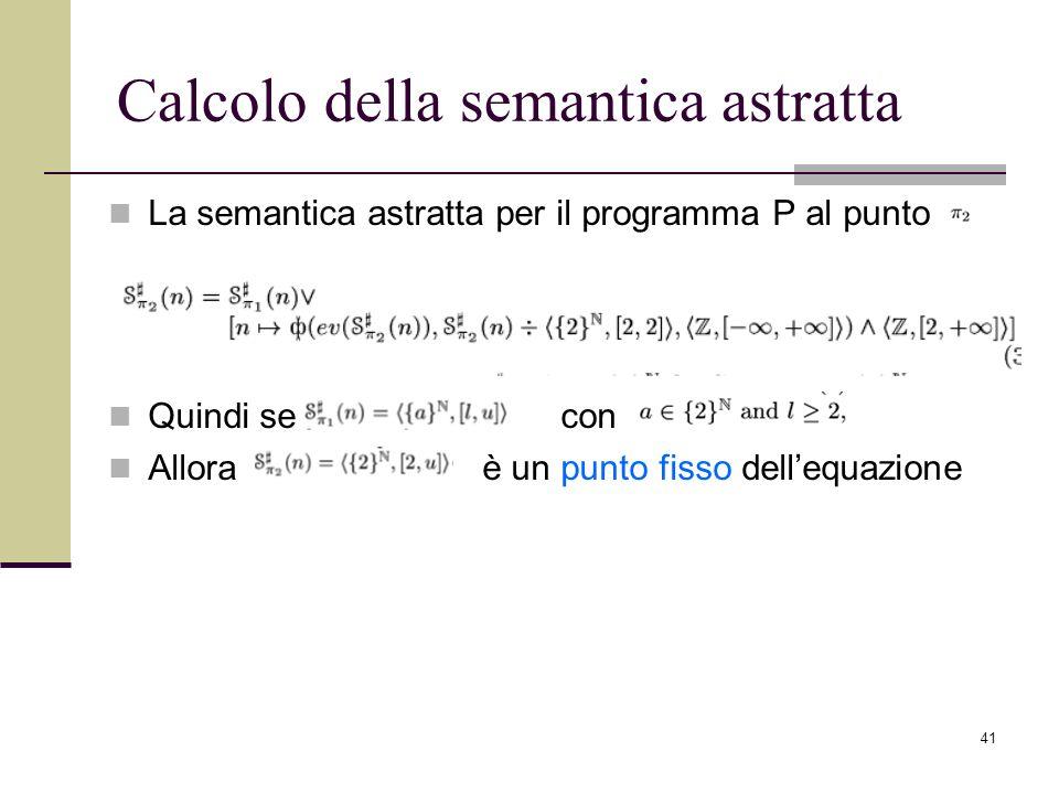 41 Calcolo della semantica astratta La semantica astratta per il programma P al punto Quindi se con Allora è un punto fisso dellequazione