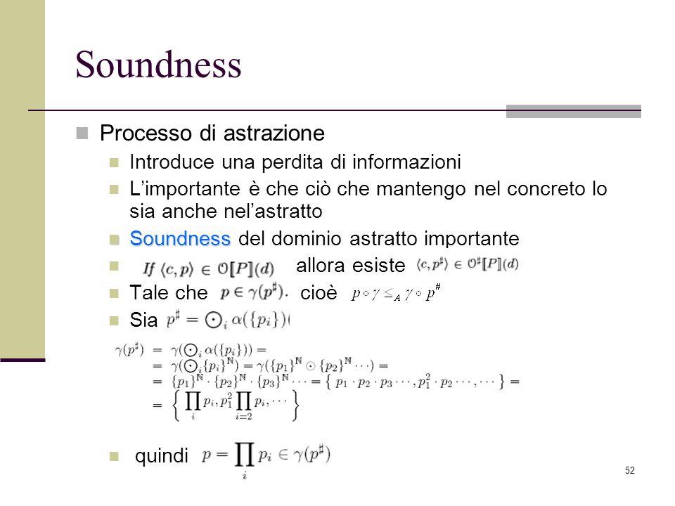 52 Soundness Processo di astrazione Introduce una perdita di informazioni Limportante è che ciò che mantengo nel concreto lo sia anche nelastratto Soundness Soundness del dominio astratto importante allora esiste Tale che cioè Sia quindi
