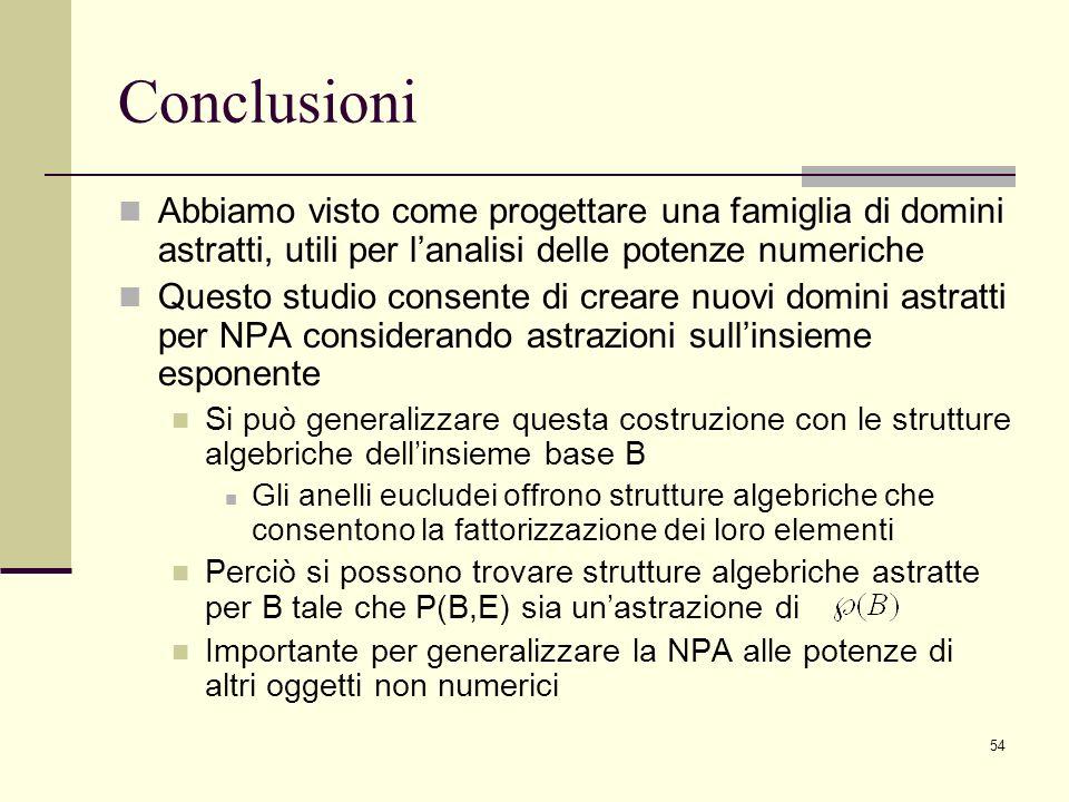 54 Conclusioni Abbiamo visto come progettare una famiglia di domini astratti, utili per lanalisi delle potenze numeriche Questo studio consente di creare nuovi domini astratti per NPA considerando astrazioni sullinsieme esponente Si può generalizzare questa costruzione con le strutture algebriche dellinsieme base B Gli anelli eucludei offrono strutture algebriche che consentono la fattorizzazione dei loro elementi Perciò si possono trovare strutture algebriche astratte per B tale che P(B,E) sia unastrazione di Importante per generalizzare la NPA alle potenze di altri oggetti non numerici