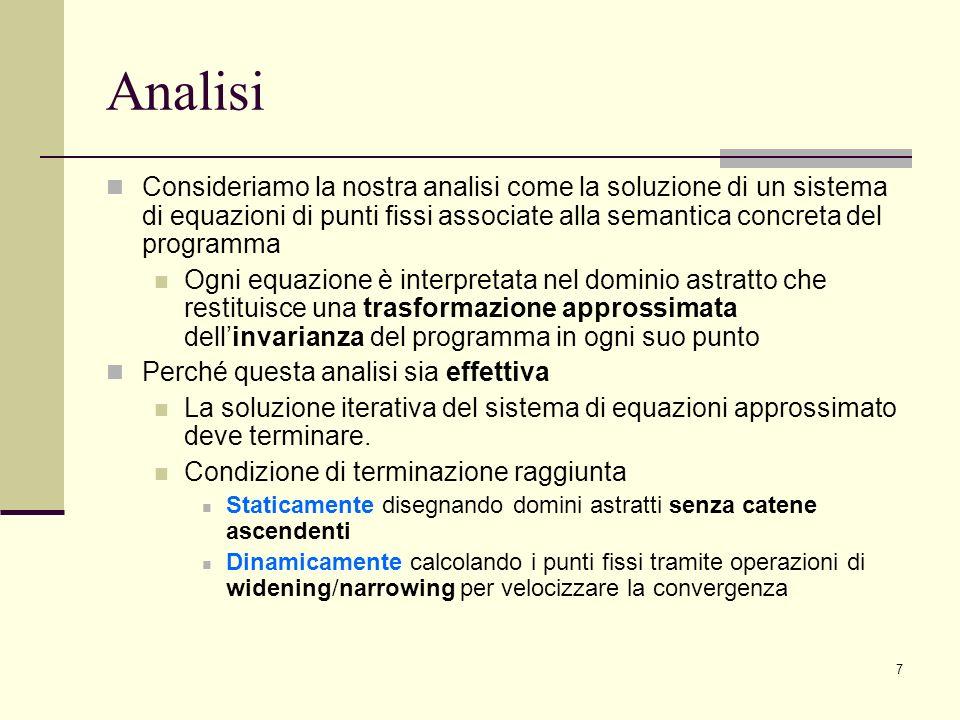 7 Analisi Consideriamo la nostra analisi come la soluzione di un sistema di equazioni di punti fissi associate alla semantica concreta del programma O