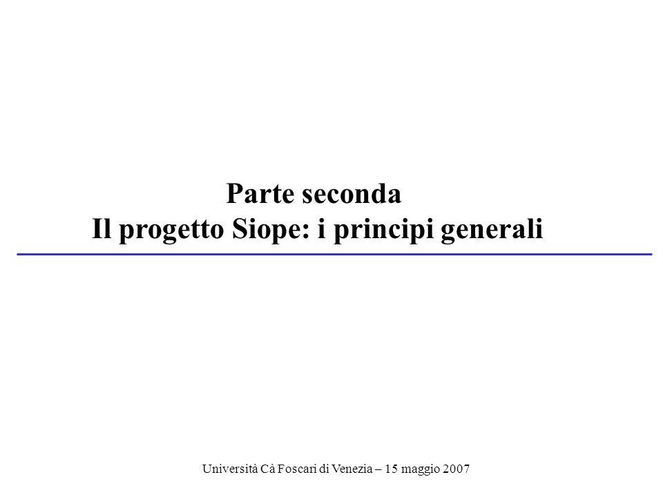 Università Cà Foscari di Venezia – 15 maggio 2007 Parte seconda Il progetto Siope: i principi generali