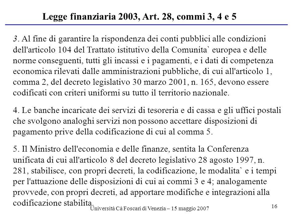 Università Cà Foscari di Venezia – 15 maggio 2007 16 3.