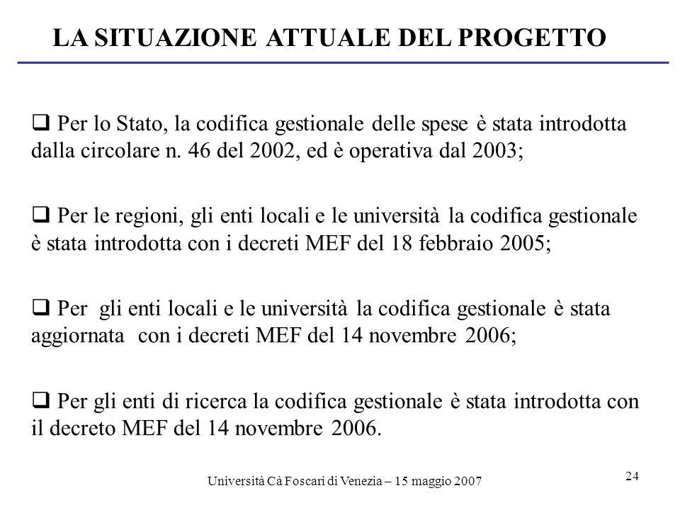 Università Cà Foscari di Venezia – 15 maggio 2007 24 LA SITUAZIONE ATTUALE DEL PROGETTO Per lo Stato, la codifica gestionale delle spese è stata introdotta dalla circolare n.