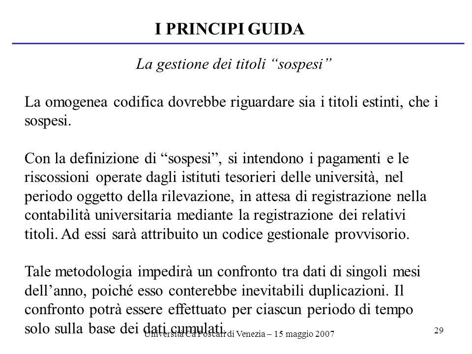 Università Cà Foscari di Venezia – 15 maggio 2007 29 I PRINCIPI GUIDA La gestione dei titoli sospesi La omogenea codifica dovrebbe riguardare sia i titoli estinti, che i sospesi.