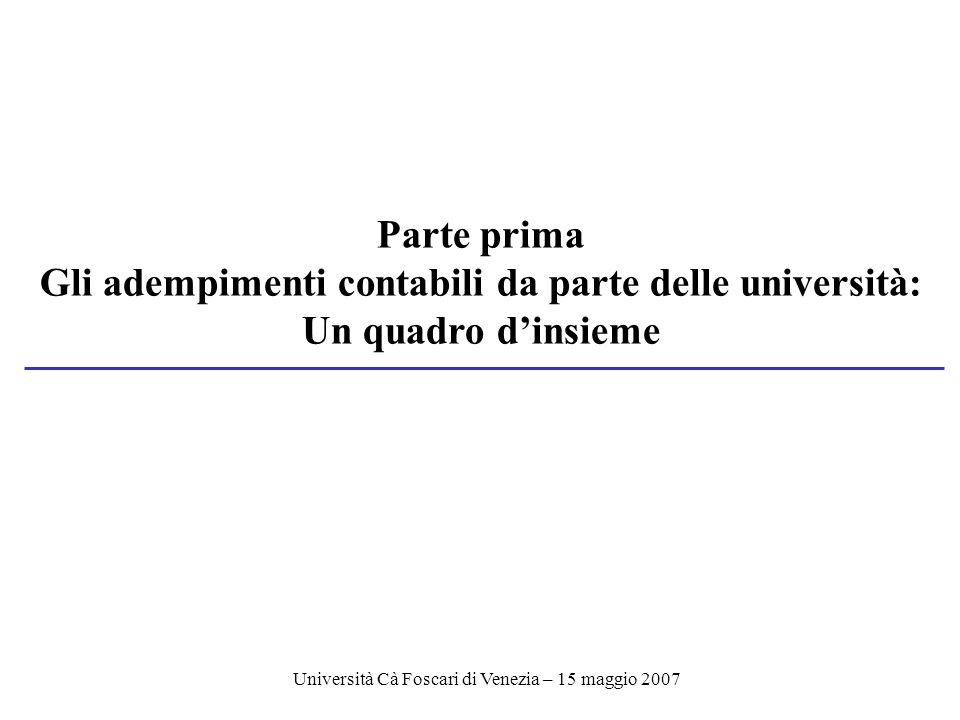 Università Cà Foscari di Venezia – 15 maggio 2007 Parte prima Gli adempimenti contabili da parte delle università: Un quadro dinsieme
