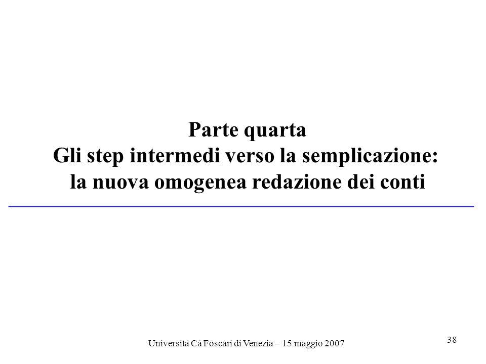 Università Cà Foscari di Venezia – 15 maggio 2007 38 Parte quarta Gli step intermedi verso la semplicazione: la nuova omogenea redazione dei conti